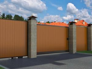 Откатные ворота в алюминиевой раме с заполнением сэндвич-панелями от 64 750 руб