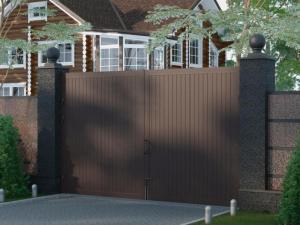 Распашные ворота в алюминиевой раме с заполнением сэндвич-панелями от 41300 руб